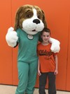 Wellington the Wellness Hound from the SOMC visits Bright Elementary