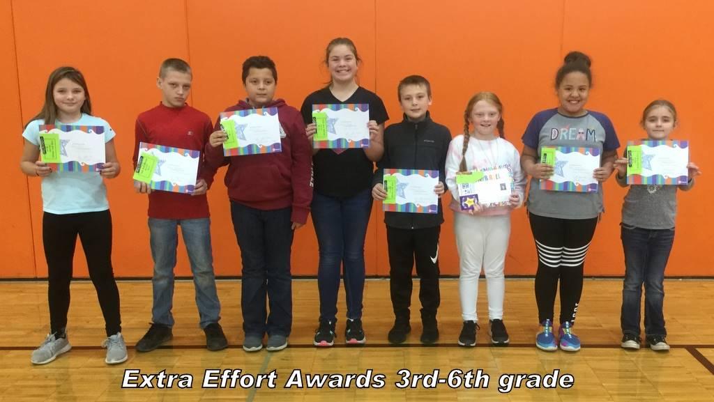 Extra Effort Awards 3rd-6th grade