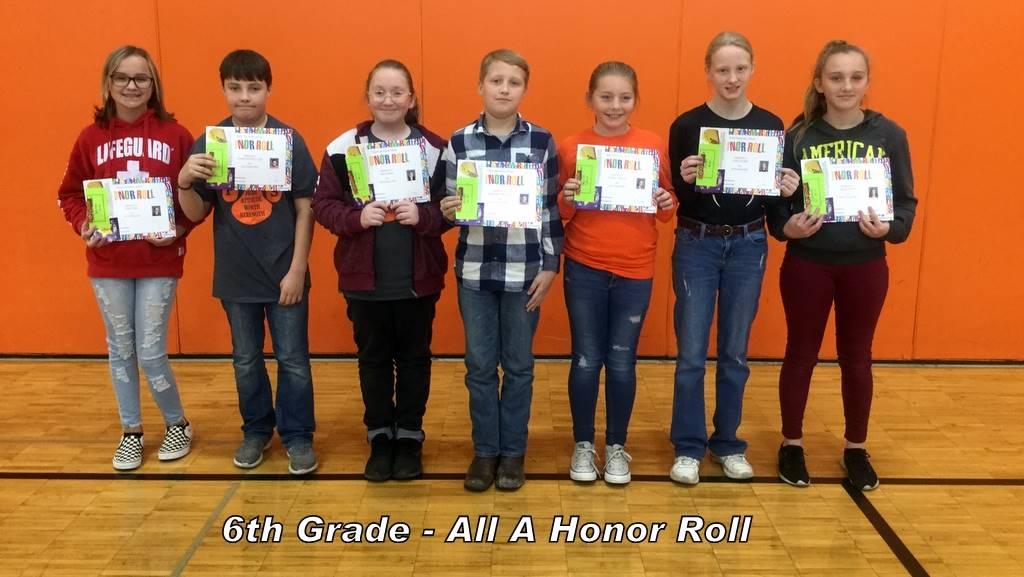 6th Grade - All A Honor Roll