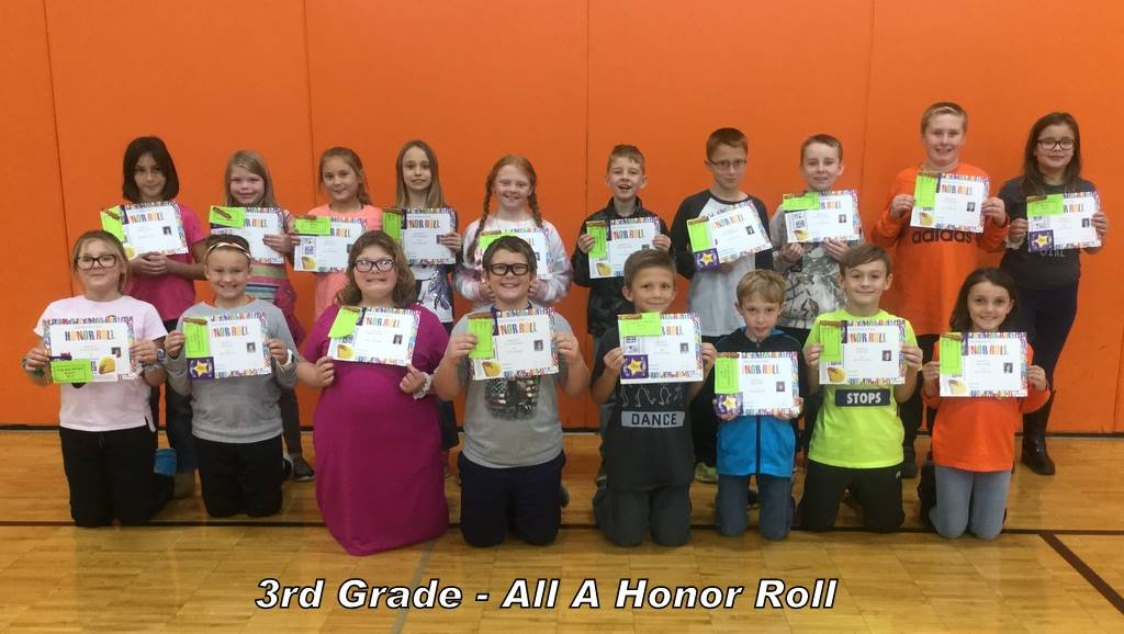 3rd Grade - All A Honor Roll