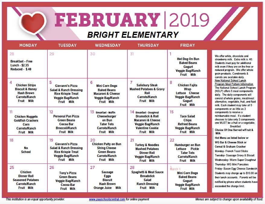 February Menu 2019