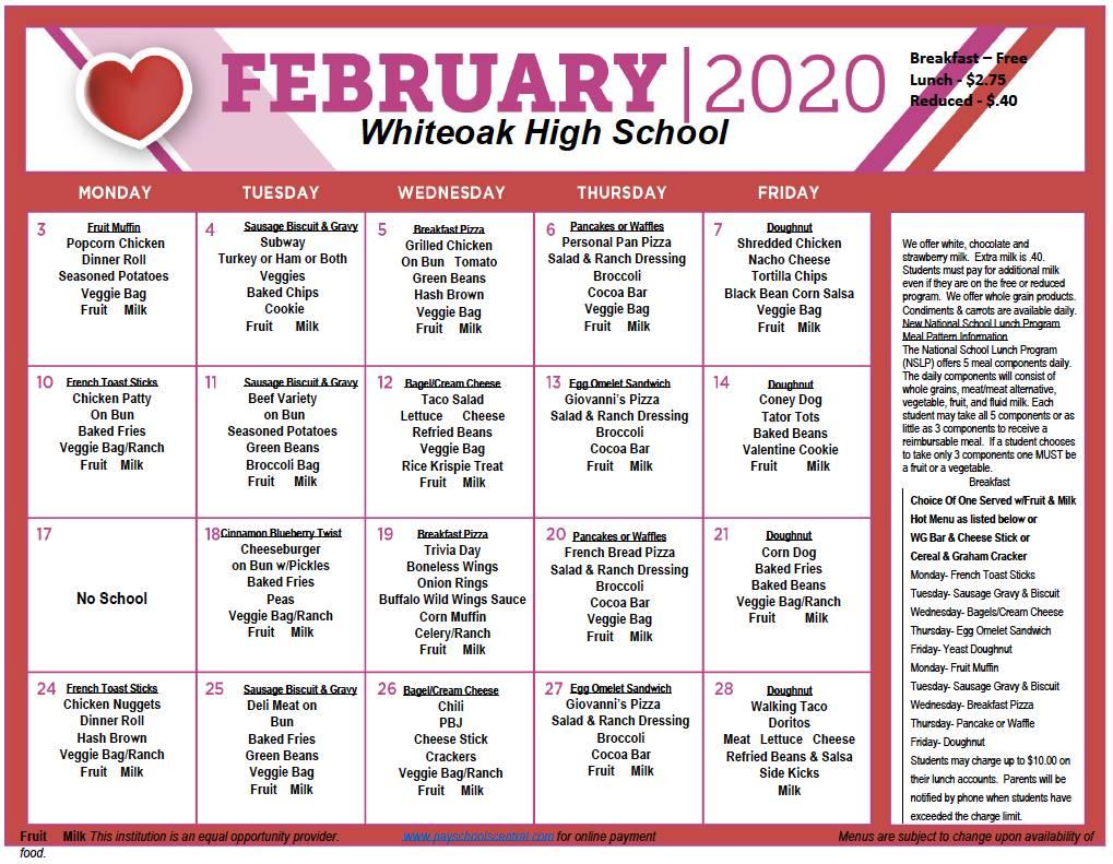 February MENU 2020