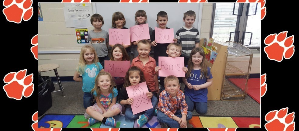 Preschoolers showing their love and support for Mrs. Farris!