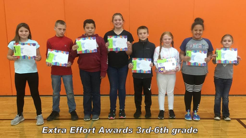 Extra Effort Awards 3rd-6th grade