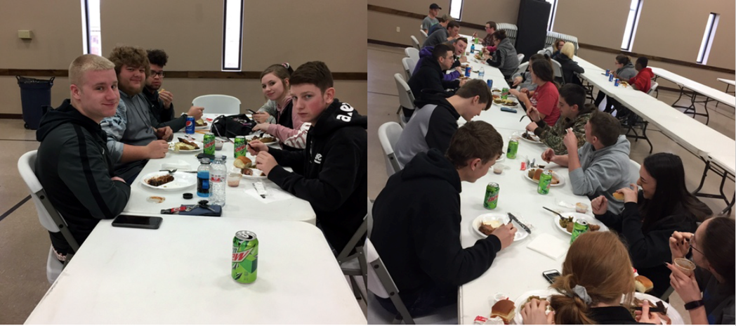 Whiteoak Juniors enjoying lunch after taking the ACT Test