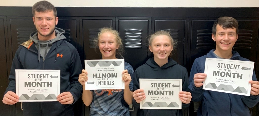CONGRATULATIONS to the Whiteoak Students of the Month for April 2019: Jr. High - Kelsey Monteith & Wade Evans and  HS - Sydnie Raines & Jacob Campbell