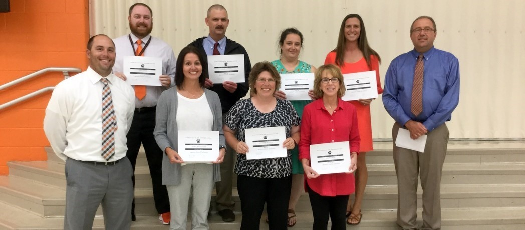 The Bright Local Board of Education recently recognized several teachers for outstanding AIR test scores.