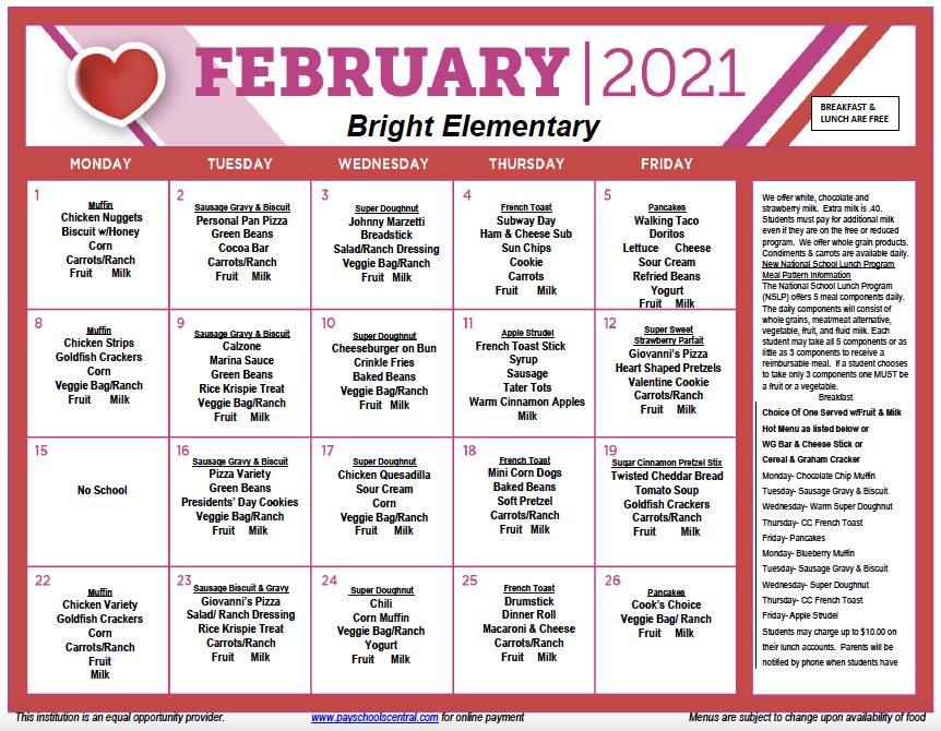 February Menu 2021